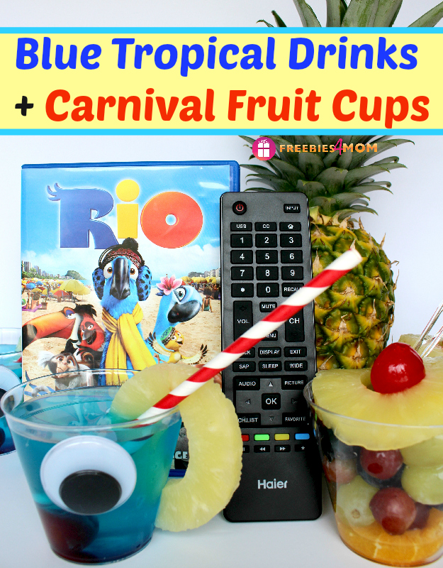 Rio Movie Night Snack - Blue Tropical Drinks and Carnival Fruit Cups