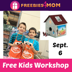 Free Kids Workshop Sept. 6 at Home Depot