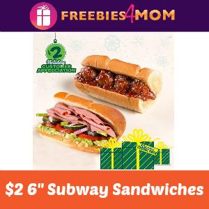 """$2 Subway 6"""" Sandwiches"""