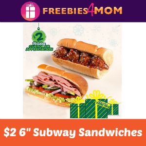 "$2 Subway 6"" Sandwiches"