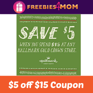 Coupon $5 off $15 at Hallmark