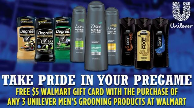 Free $5 Walmart Gift Card When You Buy 3 Unilever Men's Grooming Products at Walmart