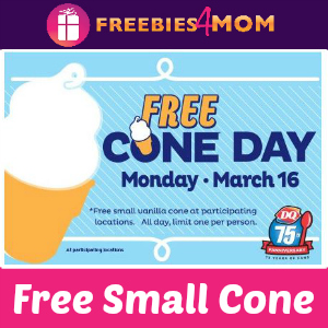 Free Small Cone at Dairy Queen March 16