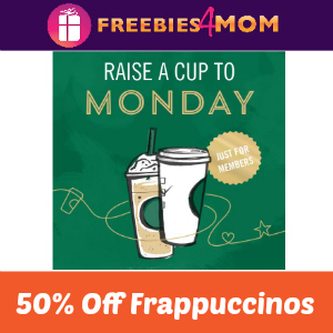 50% Off Frappuccinos at Starbucks 2-5 PM