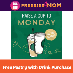 Free Pastry with Purchase at Starbucks 2-5 PM