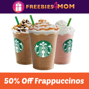 Starbucks 50% Off Frappuccinos May 1-10