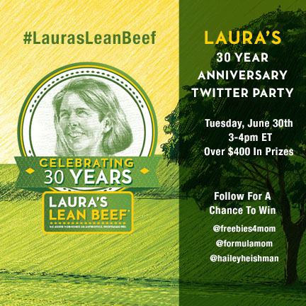 $400+ in Prizes at #LaurasLeanBeef Twitter Party June 30 3pm ET