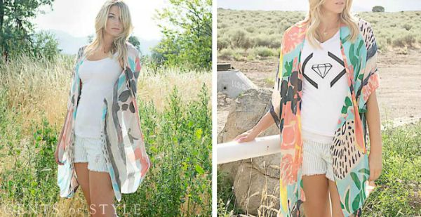 Abstract Printed Kimono $12.95 (+Earring Deal)