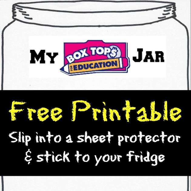 photograph relating to Printable Box Top Collection Sheets known as Absolutely free Printable Box Tops™ Variety Jar for your refrigerator