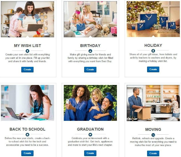 Select a Theme to Create a Wish List at Best Buy