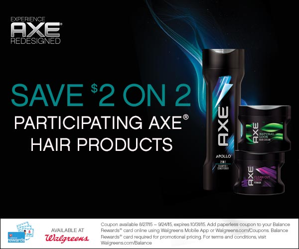 Walgreens Coupon: Save $2 on 2 AXE® Hair products