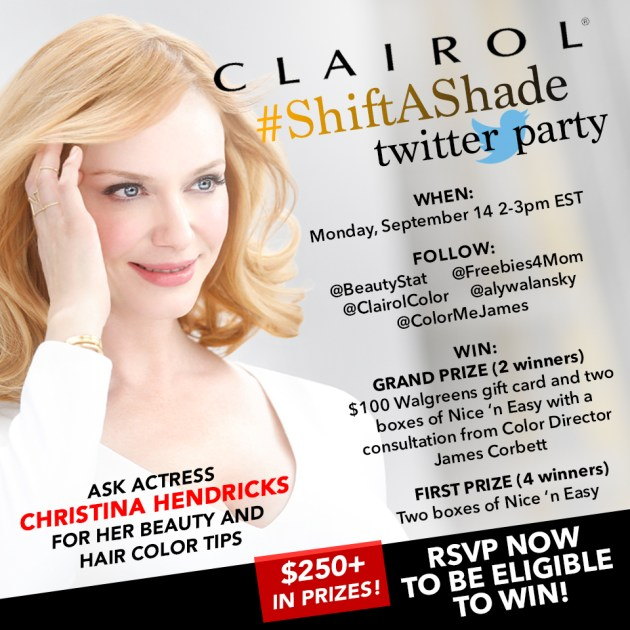 $250+ in Prizes at #ShiftAShade Twitter Party for Clairol Nice 'n Easy