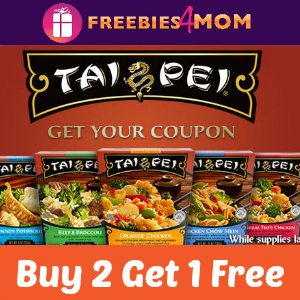 Buy 2 Get 1 Free Tai Pei Entrees (value to $2.49)