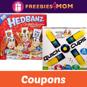 Coupons: Save on Hedbanz & Quick Cups Games