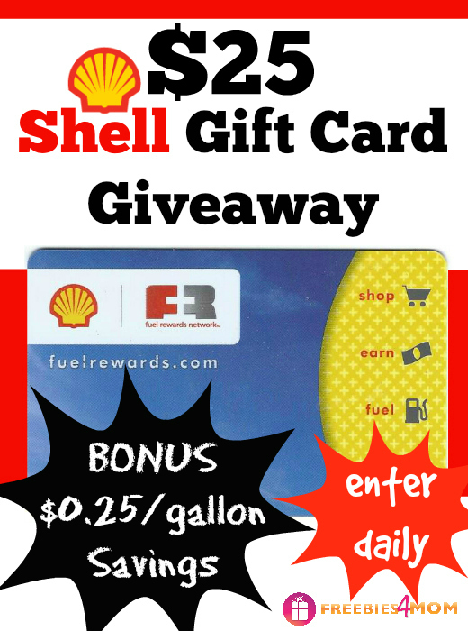 $25 Shell Gift Card Giveaway (3 winners) ~ Save on fuel with Fuel Rewards Network