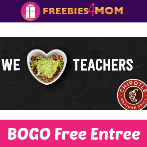 Chipotle BOGO Free Entree for Educators