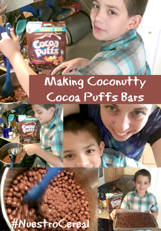 Making Coconutty Cocoa Puffs Bars Recipe with my son to make memories in the kitchen