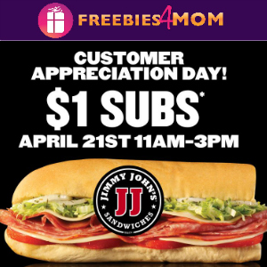 $1 Subs at Jimmy Johns April 21