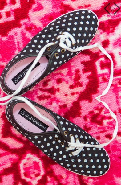 $15.95 Plaid & Polka Dot Canvas Sneakers