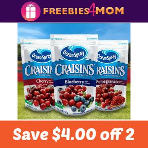 Coupon: $4.00 off 2 Craisins Dried Cranberries