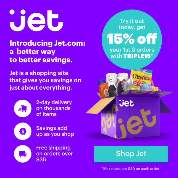 15% off your first 3 orders at Jet