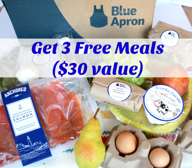 3 Free Meals from Blue Apron Meal Delivery