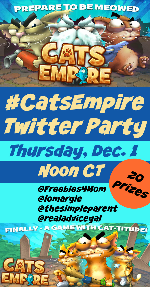 $500 in Prizes at #CatsEmpire Twitter Party Thursday, Dec. 1 at Noon CT