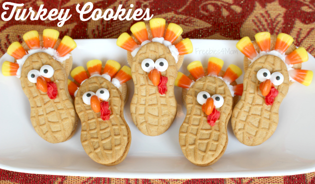Turkey Cookies made with Nutter Butter and OREO cookies