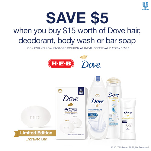H-E-B Deal: $5 off $15 of Dove & Win an H-E-B Gift Card