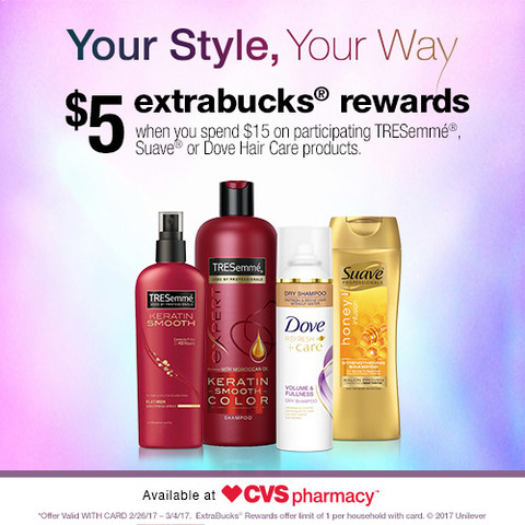 Get $5 Extrabucks Rewards when you spend $15 on participating TRESemme, Suave or Dove Hair Care products at CVS