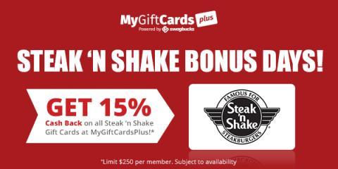 Swagbucks Steak 'n Shake Bonus Days