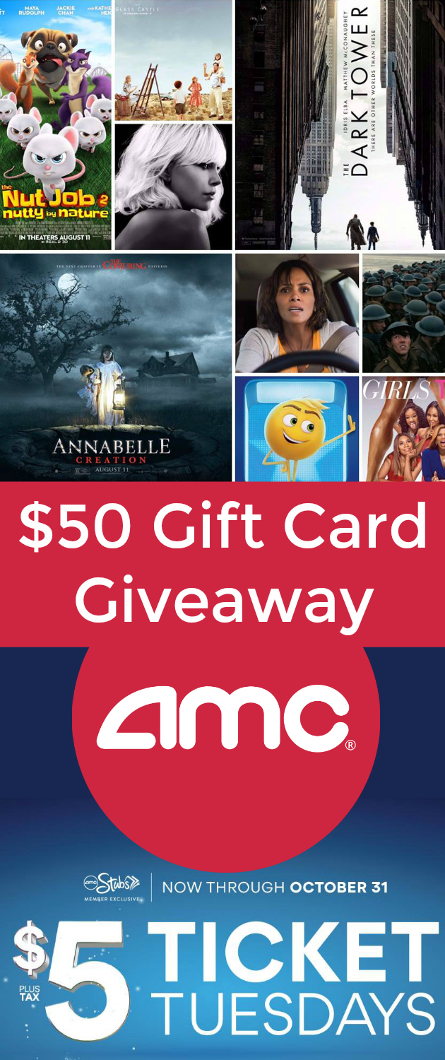 $50 AMC Gift Card Giveaway: $5 Movie Tickets Every Tuesday