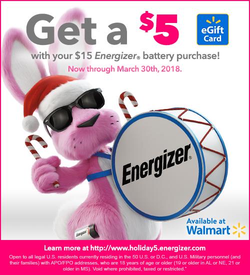 $5 Reward with $15 Energizer purchase at Walmart