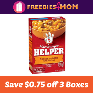 Coupon: Save $0.75 off Three Hamburger Helper