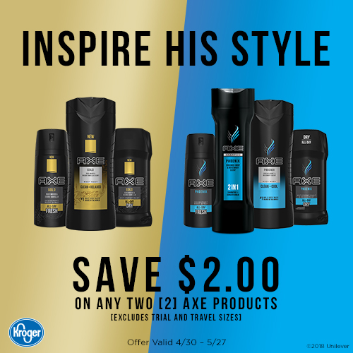 Save $2.00 on AXE at Kroger