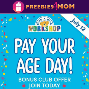 Pay Your Age at Build-A-Bear July 12