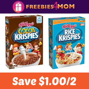 Save $1.00 on 2 Rice Krispies or Cocoa Krispies