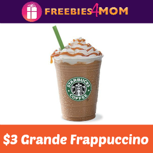 $3 Grande Frappuccino at Starbucks Aug. 10