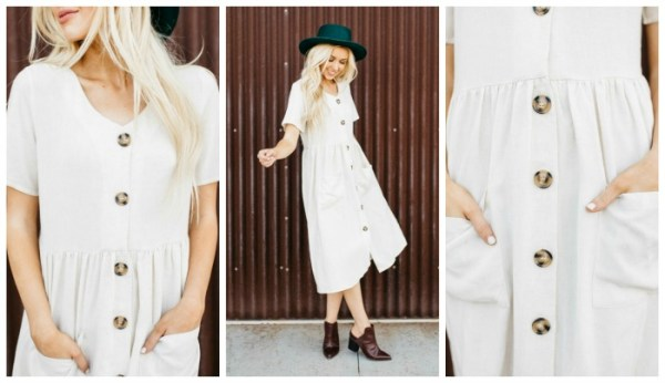 Woven Dress with Pockets $29.99