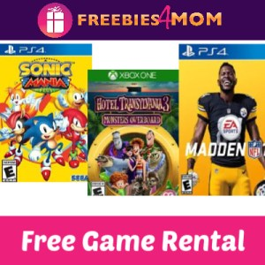 Free Redbox Video Game Rental (text)