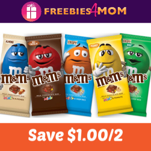 Coupon: Save $1.00 on 2 M&M'S Chocolate Bars