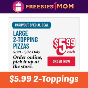 Domino's $5.99 2-Topping Large Pizzas
