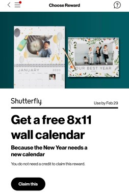 Free Shutterfly Calendar (Verizon Customers)