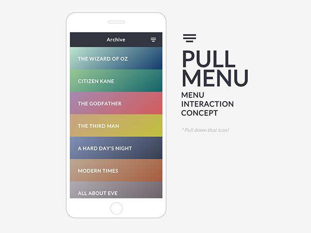 Pull menu interaction concept