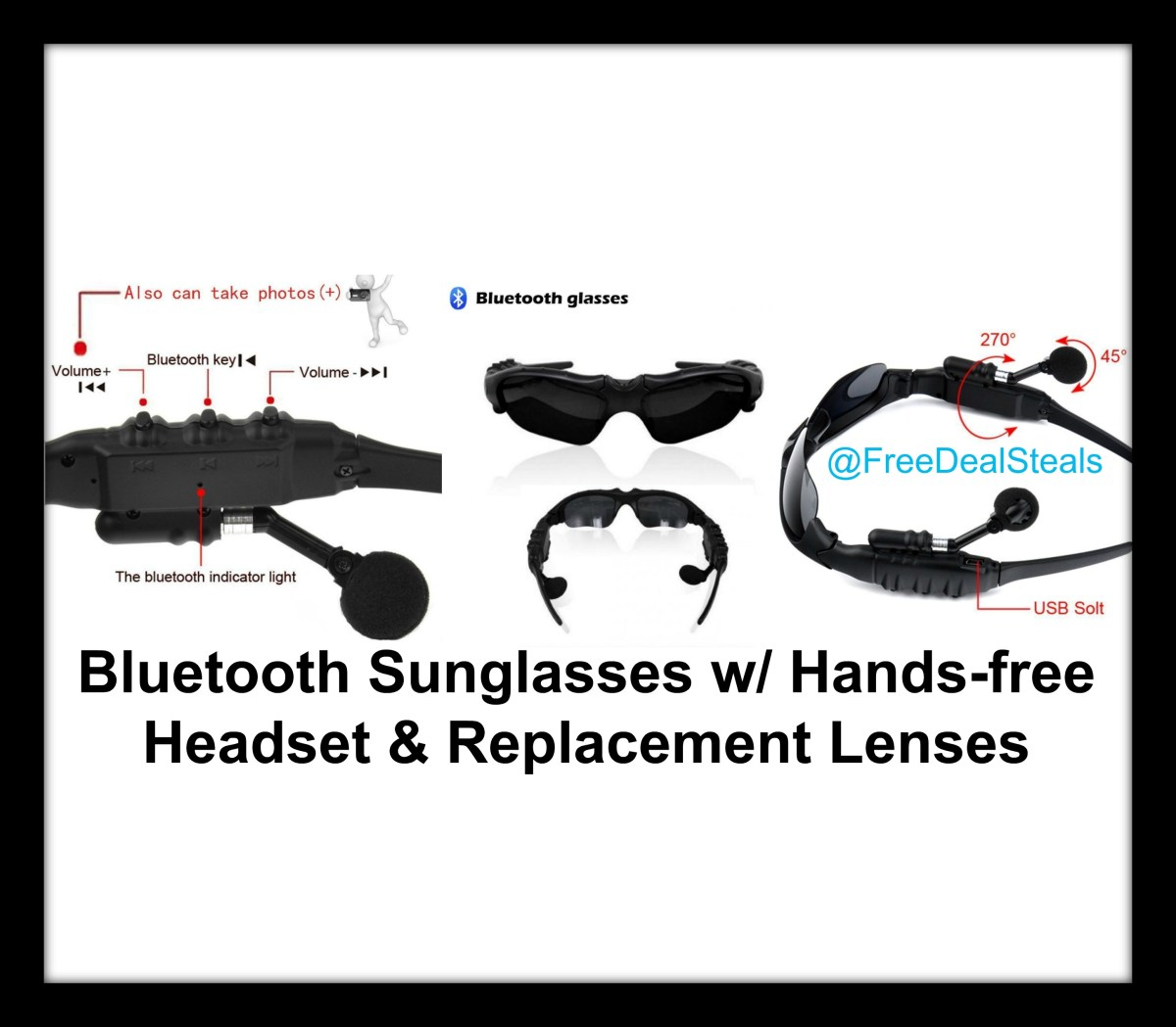 Bluetooth Sunglasses w/ Hands-free Headset & Replacement Lenses!