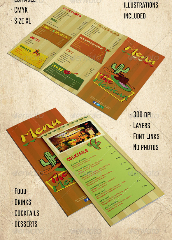 Mexican-Trifold-Menu