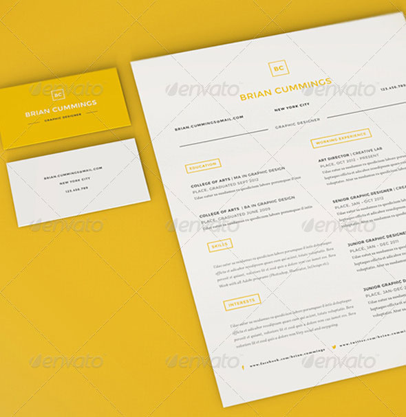 this two piece resume set template features monogram as personal logo