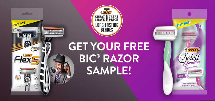 Free  Men's Flex 5 Razor or Women's Soleil Sensitive Razor Sample