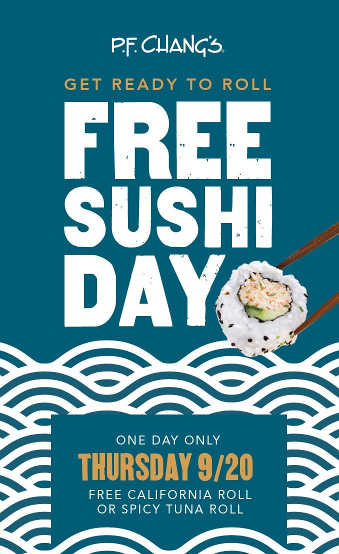 Get a Free Sushi Roll at P. F. Chang's on Free Sushi Day