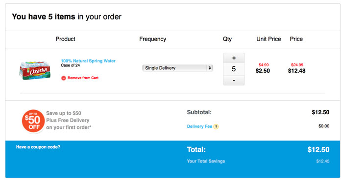 I bought 5 cases of water for just .50!